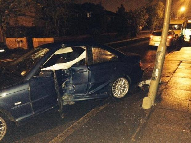 News Shopper: The damaged car in Burnt Ash Lane