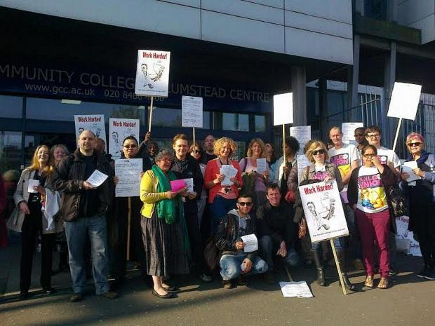 Greenwich Community College teachers protest over low pay and a proposed increased workload