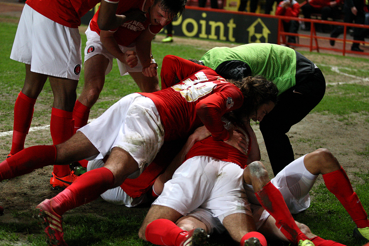 News Shopper: Somewhere underneath all this is skipper Johnnie Jackson after he restored Charlton's lead