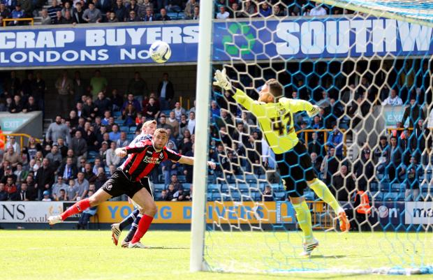 News Shopper: Martyn Woolford heads home the winning goal. Pictures by Edmund Boyden.