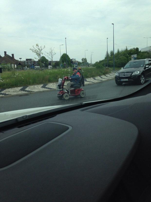 News Shopper: The elderly man takes on the roundabout.