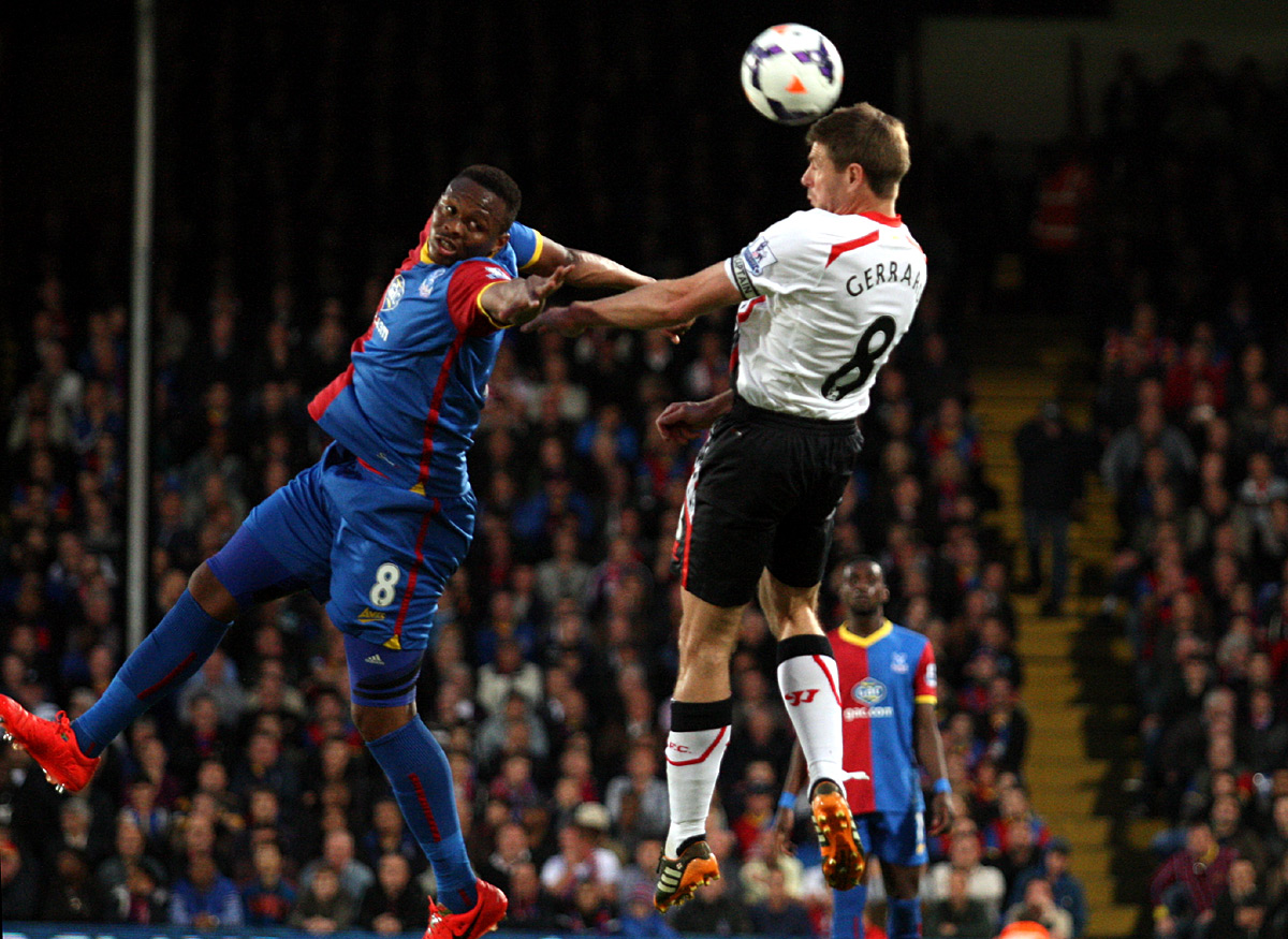 News Shopper: Steven Gerrard beats Kagisho Dikgacoi to a header