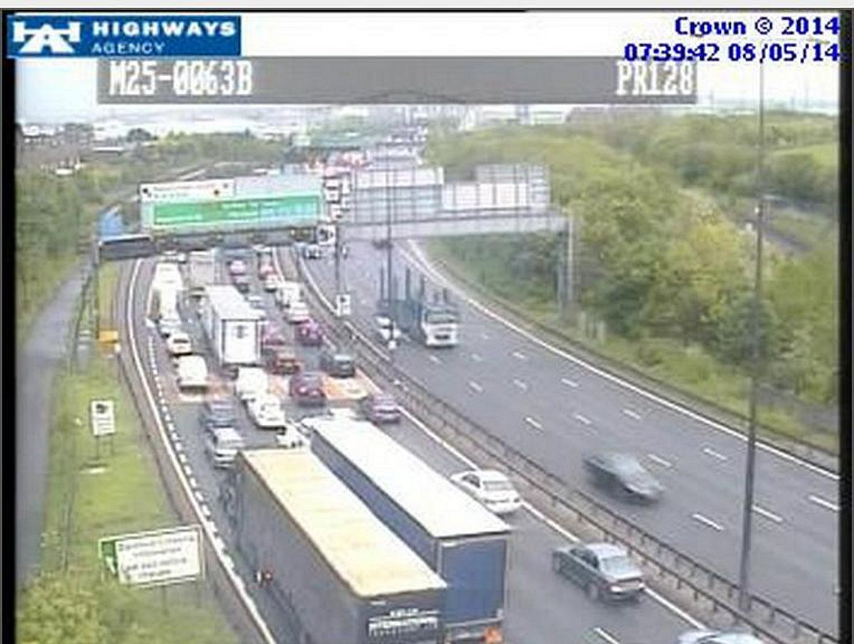 Congestion on the M25 this morning (image by the Highways Agency).