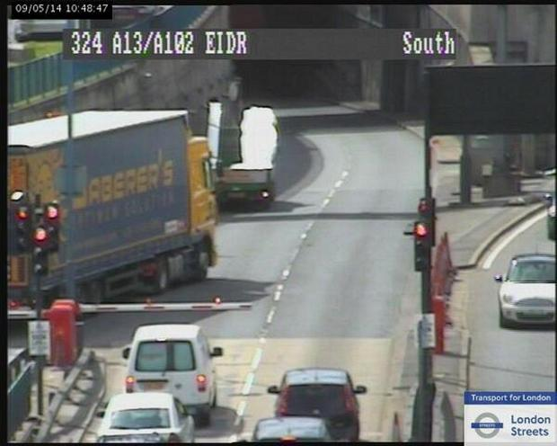 Blackwall Tunnel southbound closed after a collision, picture courtesy of TfL