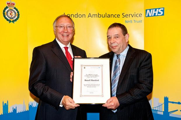 Retired Assistant Chief Ambulance Officer Russell Mansford and Richard Hunt, chairman, London Ambulance Service