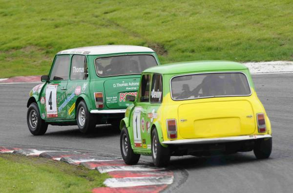 News Shopper: Darren Thomas (4) beat Andrew Deviny in the Dunlop Mini Seven race