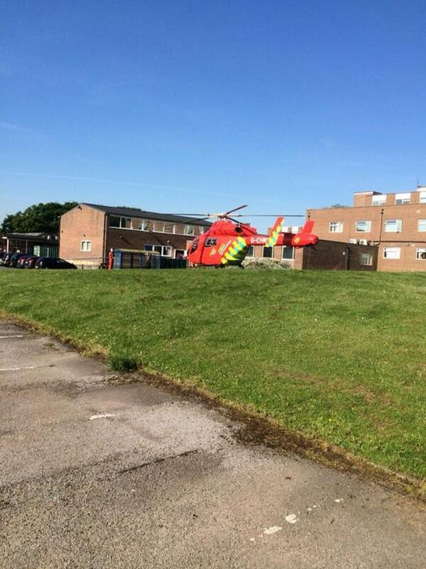 News Shopper: The air ambulance landing this morning (pic by @_MrDick)