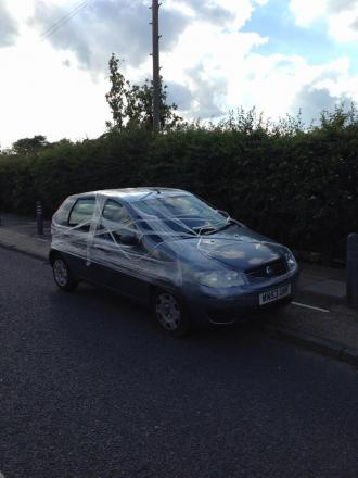 PICTURED: Car photographed wrapped in clingfilm in Bexley