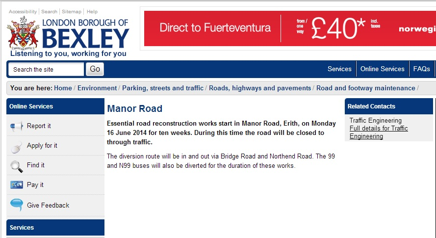 Manor Road, Erith set to close for 10 weeks