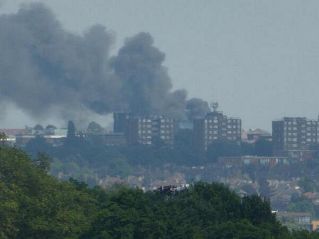 News Shopper: The fire was visible from Lewisham (pic by @ibf1)