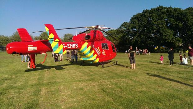 London Air Ambulance flew into Northbrook Park after a teenage boy fell off his bike