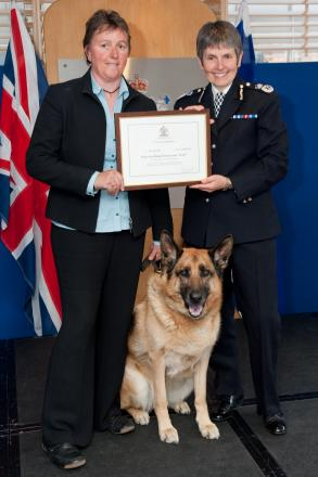 PC Mandy Chapman and Karly with Assistant Commissioner Cressida Dick
