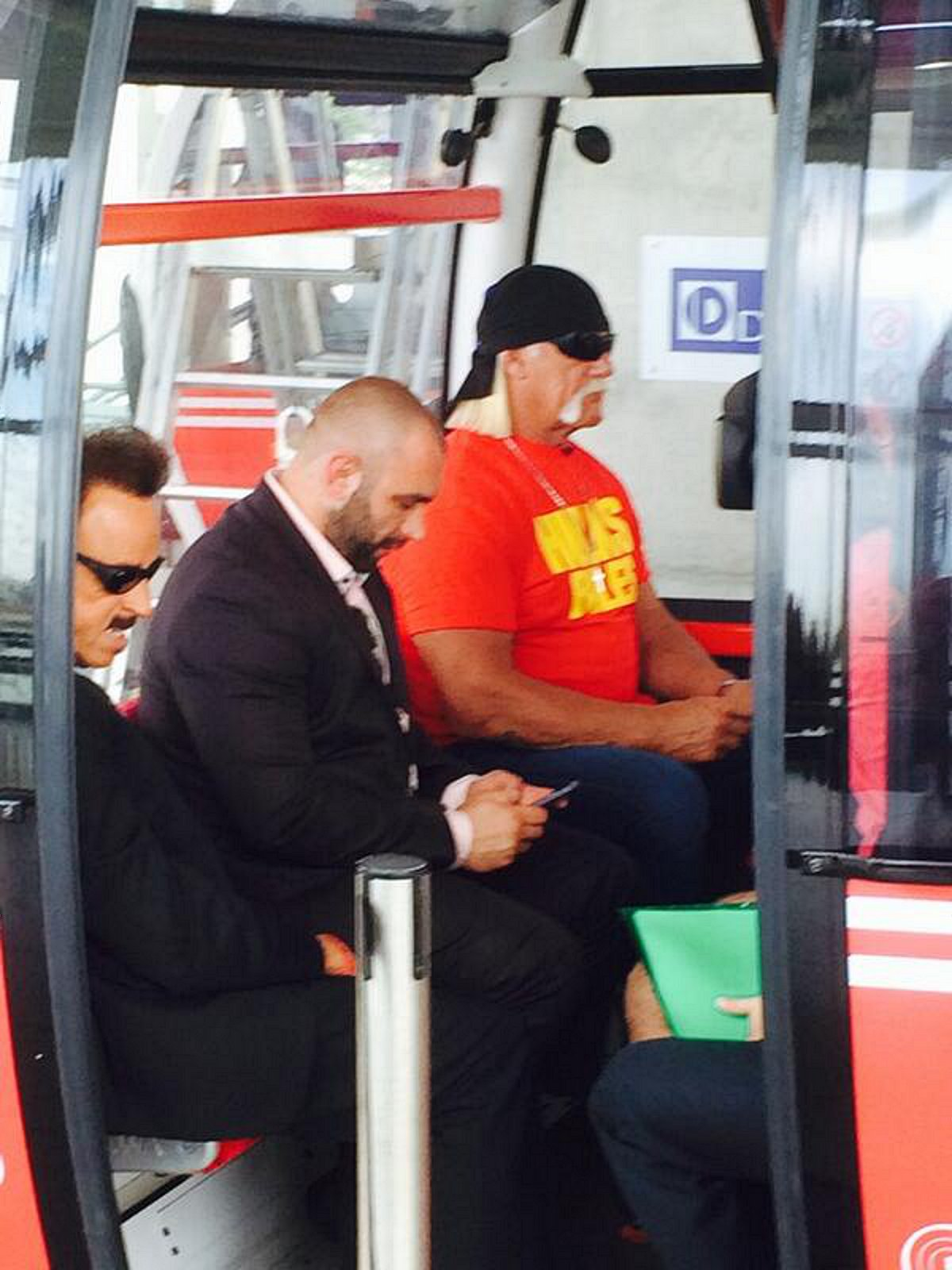 Hulk Hogan takes Greenwich cable car to The O2 for WWE WrestleMania