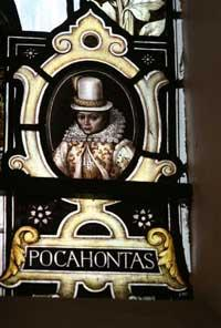 News Shopper: A stained glass window image of Pocahontas, who was buried on the church site