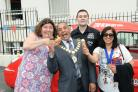 Cheryl Fergison, Mayor Avtar Sandhu, Danny Briggs - ice cream man, Mayoress Sukh Sandhu.