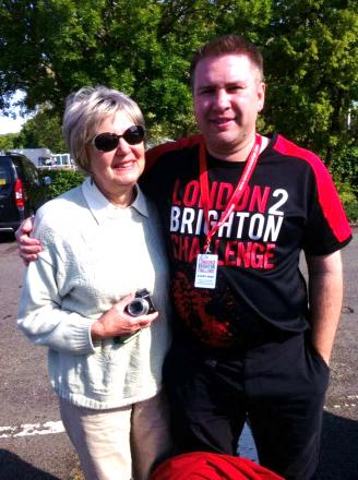 Adrian with his mother Lorna, at the start of the 2013 London 2 Brighton Challenge