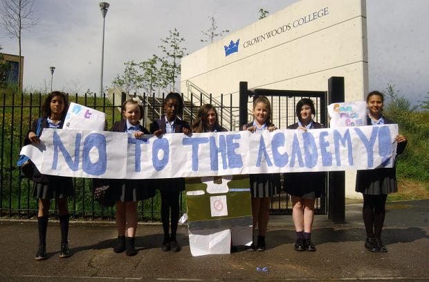 News Shopper: Crown Woods College pupils against the school's change to an academy