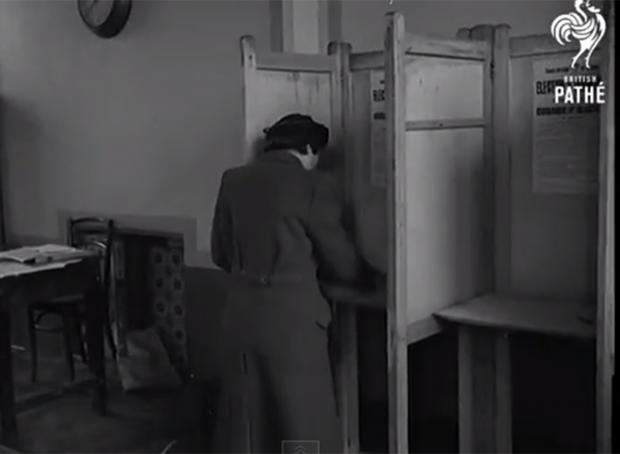 Bromley local elections in 1947. Still taken from British Pathe archive film