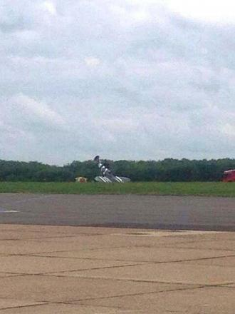 The Kent Spitfire crashes in Biggin Hill airport. Photo: Kent999s