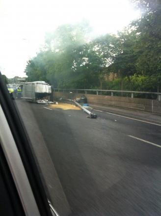 PICTURED: Woolwich crash sees van driver arrested on suspicion of drink driving