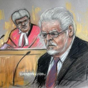 Court artist drawing by Elizabeth Cook of Rolf Harris in the dock at Southwark C