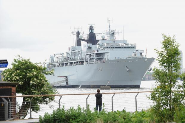 HMS Bulwark arrived in Greenwich yesterday
