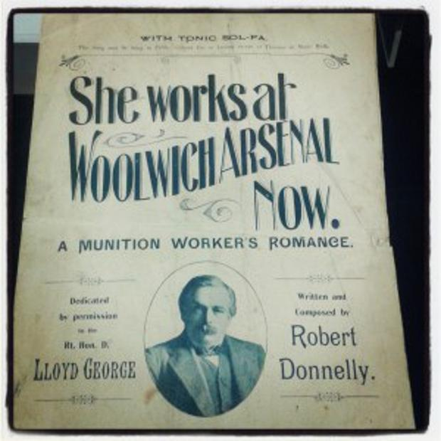 News Shopper: Front cover of sheet music for She Works at Woolwich Arsenal Now