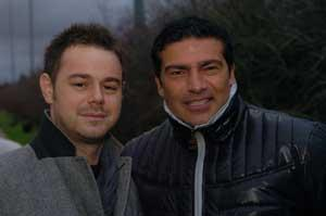 Danny Dyer (left) is welcomed to the Borough by fellow actor Tamer Hassan