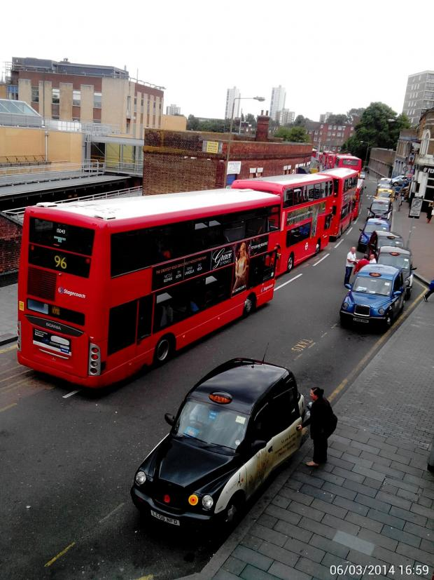 News Shopper: Buses queuing in Woolwich after the accident
