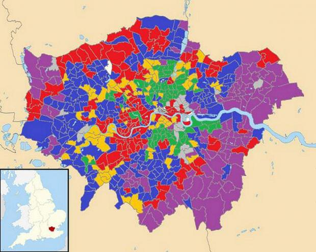 News Shopper: The success of UKIP can be seen in this map, which shows the parties that placed second in the local elections across London. Courtesy of Lewis Baston