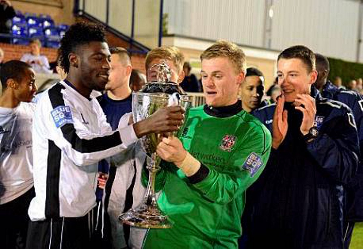 George Howard enjoys last year's London Cup final win over Kingstonian with his Bromley team mates