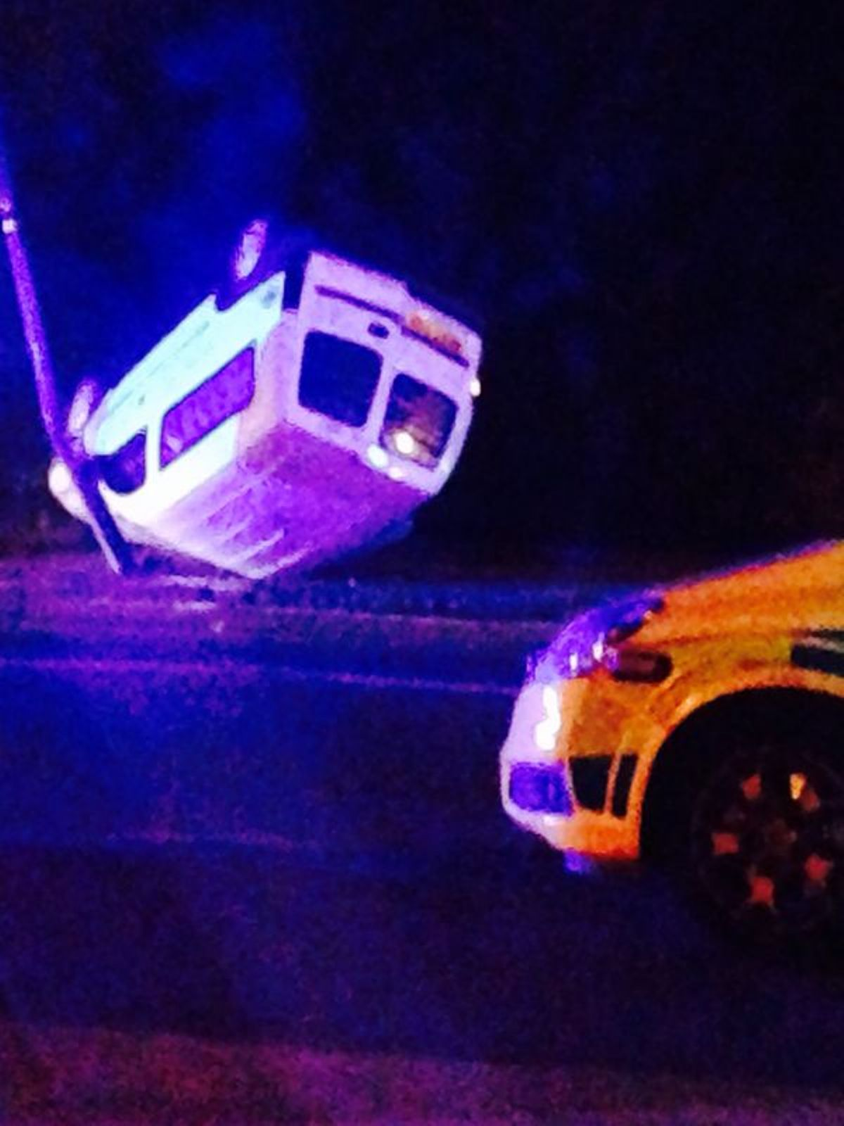 PICTURED: Van-on-roof driver talks of terrifying crash in Bexleyheath