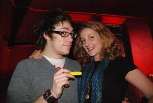 Liz Akers gives Alex Pennie from The Automatic a token