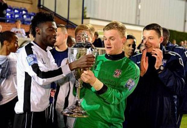 News Shopper: George Howard enjoys last year's London Cup final win over Kingstonian with his Bromley team mates