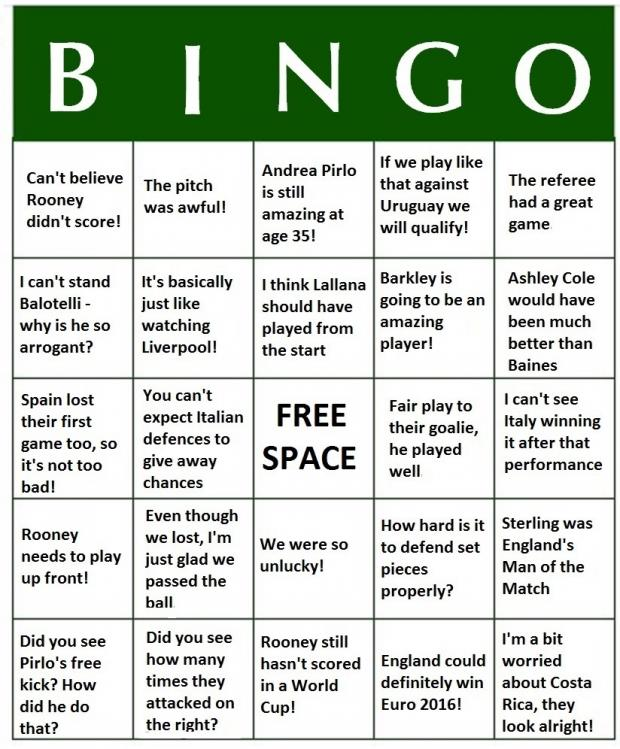 News Shopper: World Cup 2014 Bingo - England v Italy
