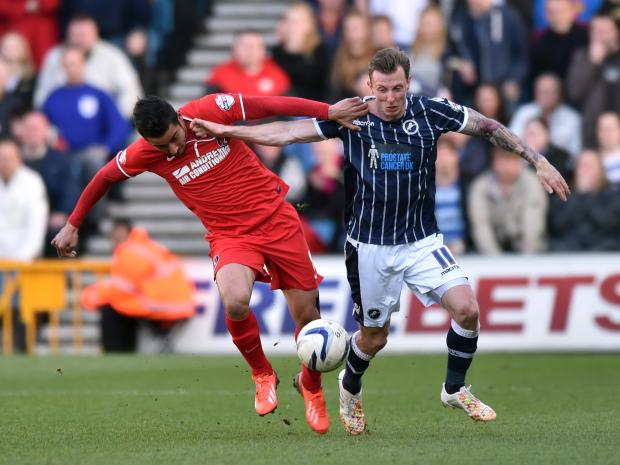 Reza in action for Charlton at Millwall last season. Picture by Keith Gillard.