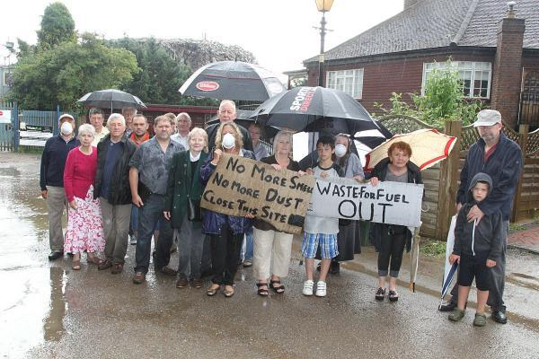 Angry residents outside the Waste4Fuel site in Cornwall Drive