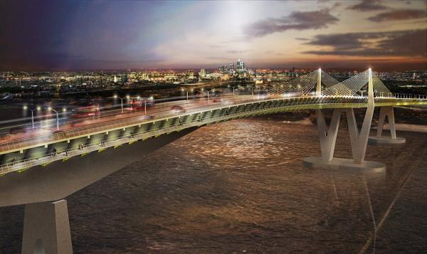 How a bridge at Gallions Reach could look.