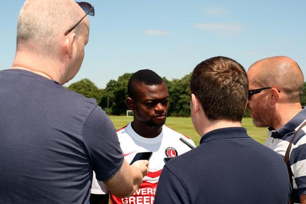 Igor Vetokele meets the regular Charlton press pack for the first time. Pictures by Edmund Boyden.