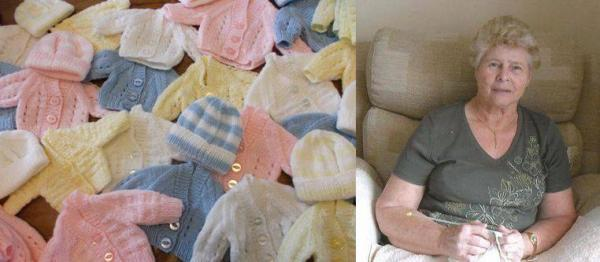 Knitting fan makes cardigans and hats for premature babies at Darent Valley Hospital