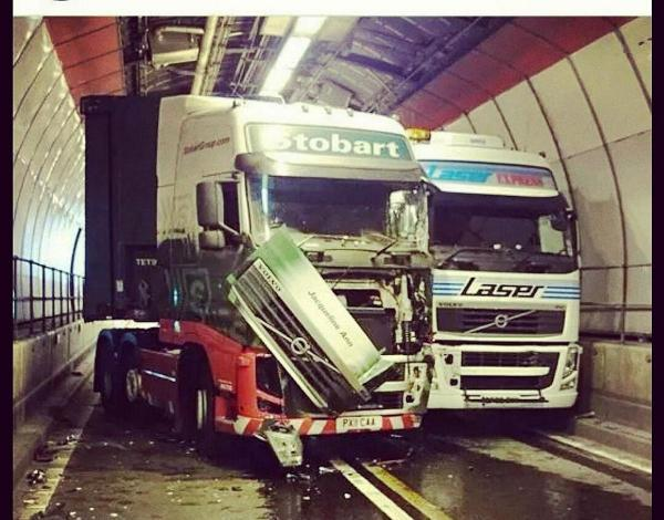 Two of the lorries involved in the crash, which saw diesel spread across a 70m section of the west bore tunnel (picture by Chris Reeve).