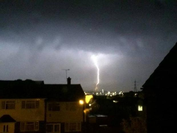 The storm ravaged London and north Kent. Here is a picture of lightning in Bean. Photo by Kerry Luck