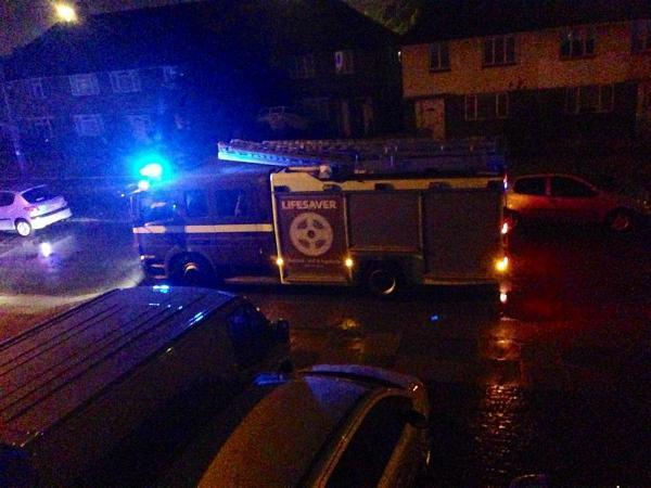 Fire engines were called to a home in Welling following a lightning strike last night (image by Anthony James Kemp).