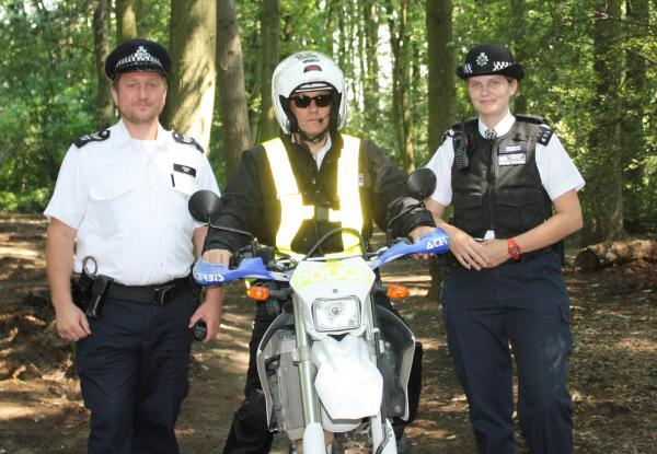 Police Constable Gary Darke (centre), of the off road biker team, with Sergeant Stuart Baker and Sergeant Lorna Andersen, from the local safer neighbourhood police teams