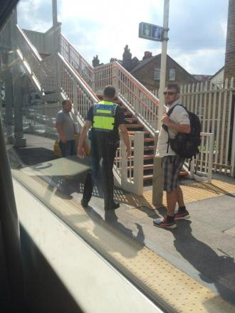 Police at Anerley station this afternoon