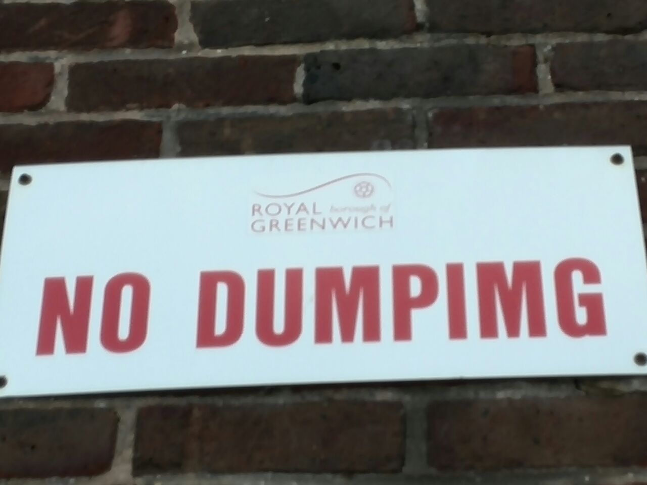 The 'No dumping' sign seen in Greenwich
