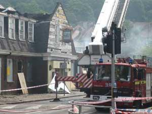 The pub's roof was destroyed in the fire