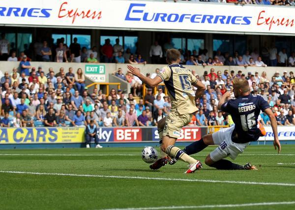 Mark Beevers fires Millwall in front with a rare goal against Leeds. Picture by Edmund Boyden.