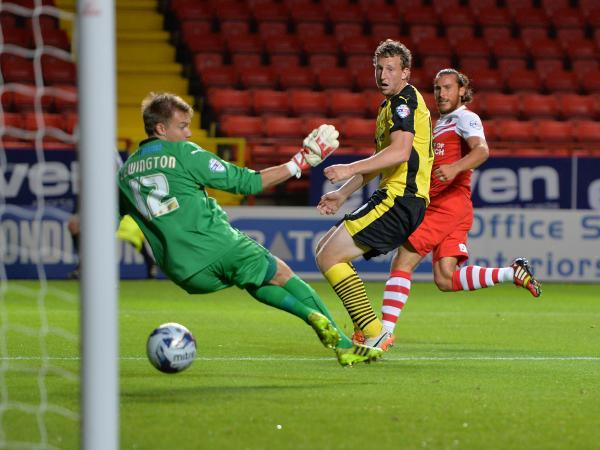 2-0: Lawrie Wilson doubles Charlton's advantage with his first of the evening. Pictures by Keith Gillard.