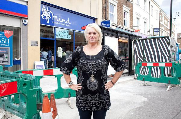 Carol Dray outside Mind In Sidcup High Street.